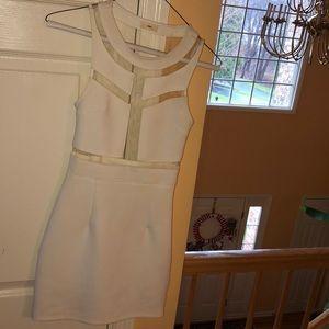 White cut out mesh dress